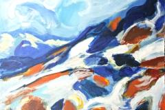 0657, Landschaft Kitzbühel, 1970, 80x60 cm, Acryl / Karton