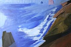 0682, Felsenküste, 1988, 80x100 cm, Acryl / Hartfaserplatte