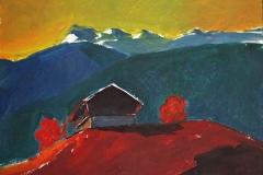 0887, Berghütte, 28x38 cm, Acryl / Karton