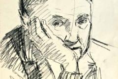 7052, altes Portrait, Kohle/Papier, 42x28,5 cm