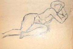 7057, liegender Akt, Kohle / Papier, 45x32,5 cm
