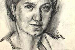 7068, Frau, Kohle / Gouache / Papier, 44x30 cm
