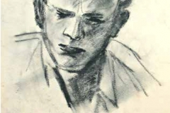 um 1950, Portrait Mann, Bleistift / Papier, 39,5x29,5 cm