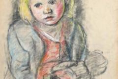 7335, Kleines Mädchen, Um 1950, Pastellkreide / Papier, 61x43 cm