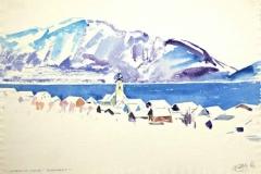 7619, Unterlach am Attersee, 1983, Aquarell/Papier, 39x57 cm