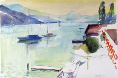878, Am Attersee, 1992, Aquarell, 56 x38 cm