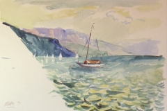 880, Am Attersee, 1992, Aquarell, 56 x 38 cm