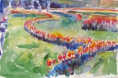564, Mirabellgarten, 1984, Aquarell, 57 x 38,5 cm