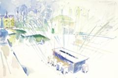8259, Die Wasserspiele Salzburg, Aquarell, 1984, 38x56,5 cm