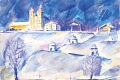 8266, Salzburg im Winter, Aquarell, 28,5x39 cm