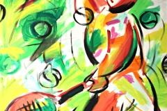 0077, Figur mit Tennisschläger, 1991, 120x100 cm, Acryl / Leinwand