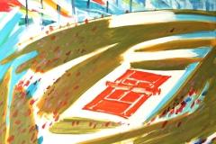 0082, Centercourt mit Stadt, 1992, 80x100 cm, Acryl / Leinwand