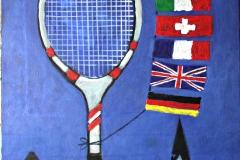 0086, Plakatentwurf Flaggen mit Tennisschläger, 1999, 65x80 cm, Acryl / Leinwand