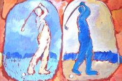 0097, 2 Golfspieler, 80x100 cm, Acryl / Hartfaser