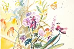 10005, bunte Blumen, Aquarell / Papier, 40x50 cm