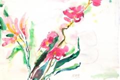 10006, Lila Blumen, Aquarell / Papier ,36x51 cm