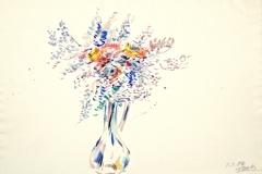 10024, zarte Blumenvase, 01.01.80, Aquarell / Papier, 39x57 cm