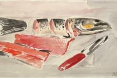 914, Lachsforelle mit Messer, Aquarell, 56 x 38 cm