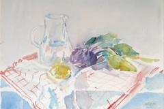 921, Stillleben mit Krug und Gemüse, Aquarell, 48,2 x 32,8 cm