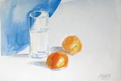 949, Obst mit Wasserkrug, 1973, Aquarell, 36 x 25 cm