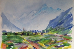 1008, Im Stubaital, 1971, Aquarell, 78 x 57 cm