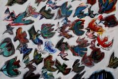 0251, 50 Vögel im Schwarm über Kaisergebirge, 1995, 199x160,5 cm, Acryl / Leinwand