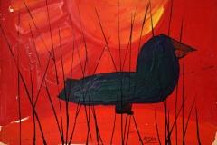 0256, Krähe, 1969, 72,5x51,5 cm, Acryl / Karton