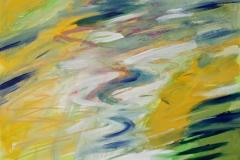 0300, Wasser gelb-grün Spiegelung, 1986/87, 80x100 cm, Acryl / Leinwand