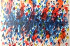 0317, bunte Tropfen 1, 1977, 98x84 cm, Acryl / Hartfaserplatte