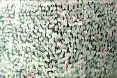 0321, weiße Tropfen, 1978, 130x85 cm, Acryl / Hartfaserplatte