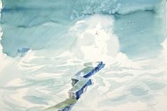 10527, Felsensteg, 1991, Aquarell/Papier, 46x60 cm