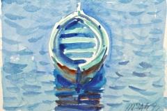 10550, Boot von oben, 1992, Aquarell/Papier, 14x19 cm