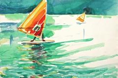 10555, oranges Segelboot, 1983, Aquarell/Papier, 29x38,5 cm