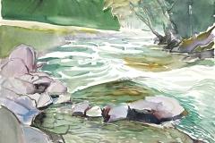 10605, Fluss, Aquarell/Papier, 47x65 cm