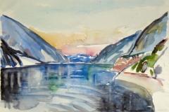 1527, Am Achensee, 1984, Aquarell, 57 x 39 cm