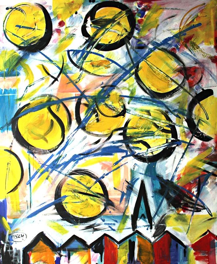 0078, Tennisbälle mit Kitzbühel Stadt, 120x100 cm, Acryl / Leinwand
