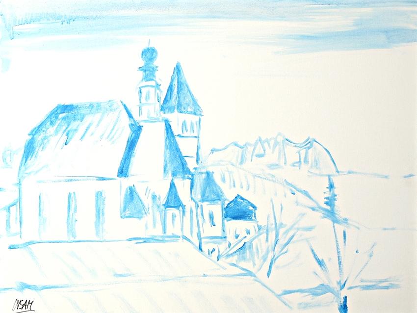 0667, Blick vom Atelier, 65x50 cm, Acryl / Leinwand