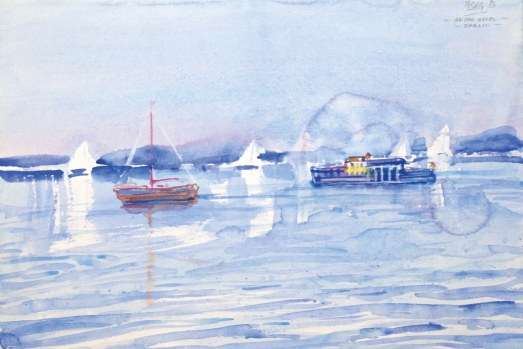 10511, An der Havel – Berlin, Aquarell, 1986, 38,5x36,5 cm