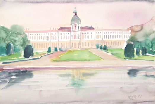 10512, Schloss Charlottenburg Berlin, Aquarell, 1986, 39x57 cm