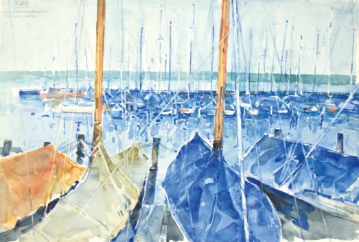 10521, Am Starnbergersee – Jachthafen, Aquarell, 39x56,5 cm