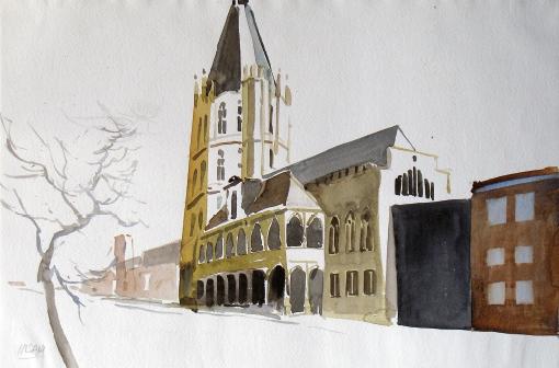 822, Köln, 1986, Aquarell, 56,5 x 37,7 cm