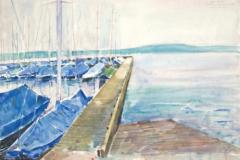 10520, Der Steg – Starnbergersee – Jacht Club, Aquarell, 41x55,5 cm