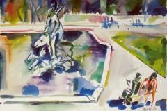 807, München, Neptunbrunnen, 1984, Aquarell, 57 x 39 cm