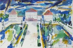 811, München, Schloss Nymphenburg, 1984, Aquarell, 56,5 x 39 cm
