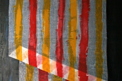 0627, rot gelb gestreift, 104x135 cm, Acryl / Leinwand
