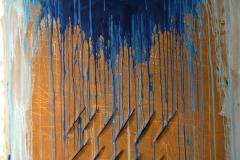 0628, blau gold gestreift, 1978, 104x134 cm, Acryl / Leinwand
