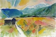 1113 , Bei Fieberbrunn, 1986, Aquarell, 40 x 30 cm