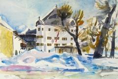 1161, Fieberbrunn, Schloss Rosenegg, 1986, Aquarell, 56,5 x 39 cm