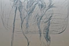 0167, 2 Skifahrer, 100x130 cm, Kohle / Papier auf Hartfaserplatte