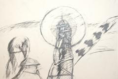 11711, Skifahrer, Aquarell/Papier, 44x62 cm